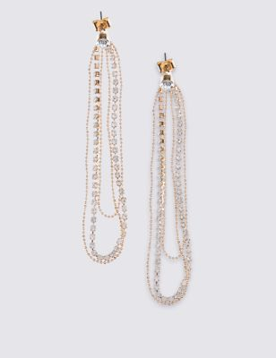 Ball Chain Pin Earrings - predominant colour: gold; occasions: evening, occasion; style: drop; length: long; size: standard; material: chain/metal; fastening: pierced; finish: metallic; embellishment: jewels/stone; season: a/w 2016; wardrobe: event