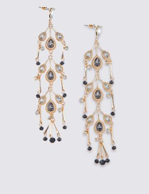 Leaf Elaborate Earrings - predominant colour: gold; occasions: evening, occasion; style: chandelier; length: long; size: large/oversized; material: chain/metal; fastening: pierced; finish: plain; embellishment: jewels/stone; season: a/w 2016; wardrobe: event