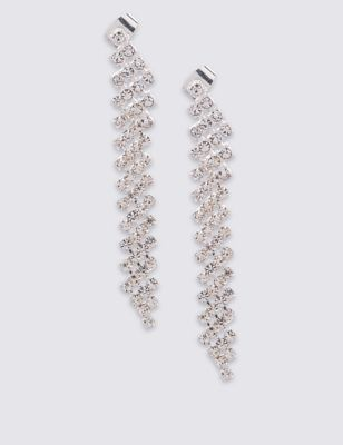 Silver Plated Cup Chain Elaborate Earrings - predominant colour: silver; occasions: evening, occasion; style: drop; length: long; size: large/oversized; material: chain/metal; fastening: pierced; finish: metallic; season: a/w 2016; wardrobe: event