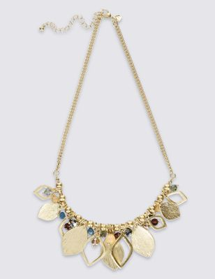 Triangle Bead Necklace - predominant colour: gold; occasions: evening, occasion; length: mid; size: large/oversized; material: chain/metal; finish: metallic; embellishment: beading; style: bib/statement; season: a/w 2016; wardrobe: event