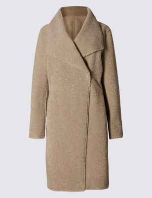 Reverse Shearling Coat - pattern: plain; bust detail: added detail/embellishment at bust; collar: wide lapels; fit: loose; length: on the knee; style: wrap around; hip detail: fitted at hip; predominant colour: nude; occasions: casual; fibres: polyester/polyamide - 100%; sleeve length: long sleeve; sleeve style: standard; collar break: medium; pattern type: fabric; texture group: woven bulky/heavy; season: a/w 2016; wardrobe: highlight