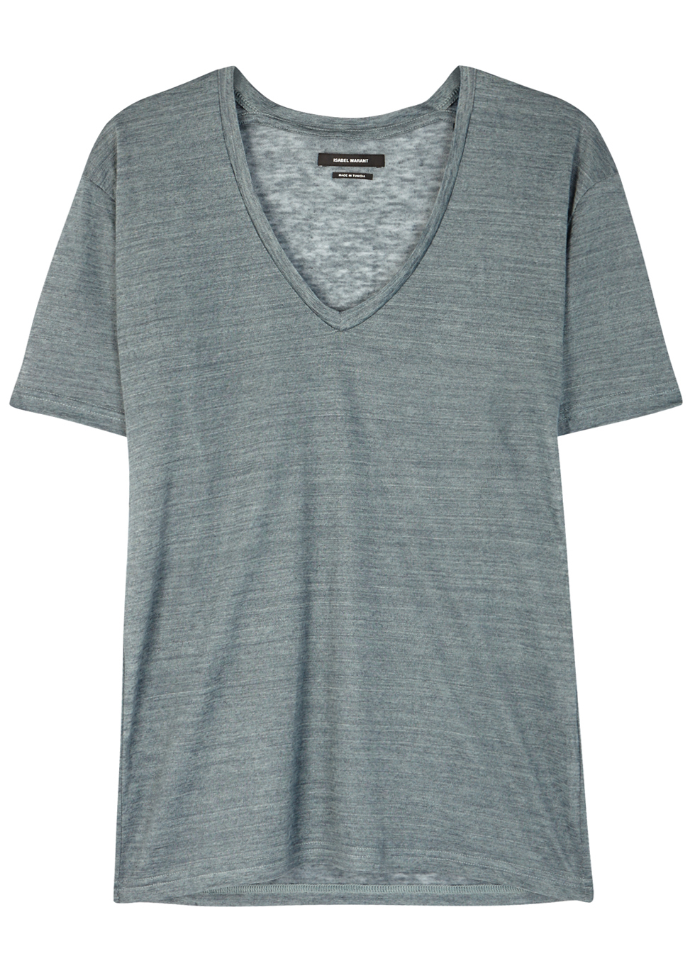 Maree Teal Slubbed Linen T Shirt - neckline: v-neck; pattern: plain; style: t-shirt; predominant colour: mid grey; occasions: casual; length: standard; fibres: linen - 100%; fit: body skimming; sleeve length: short sleeve; sleeve style: standard; texture group: linen; pattern type: fabric; wardrobe: basic; season: a/w 2016
