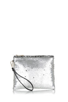 Sequin Clutch - predominant colour: silver; secondary colour: black; occasions: evening, occasion; type of pattern: standard; style: clutch; length: hand carry; size: standard; material: faux leather; embellishment: sequins; pattern: plain; finish: plain; season: a/w 2016