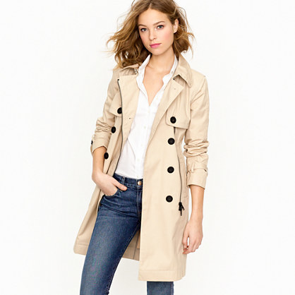 Moto Trench - pattern: plain; style: trench coat; length: on the knee; predominant colour: ivory/cream; occasions: casual, work, creative work; fit: tailored/fitted; fibres: cotton - 100%; collar: shirt collar/peter pan/zip with opening; sleeve length: long sleeve; sleeve style: standard; texture group: technical outdoor fabrics; collar break: high; pattern type: fabric; wardrobe: basic; season: a/w 2016