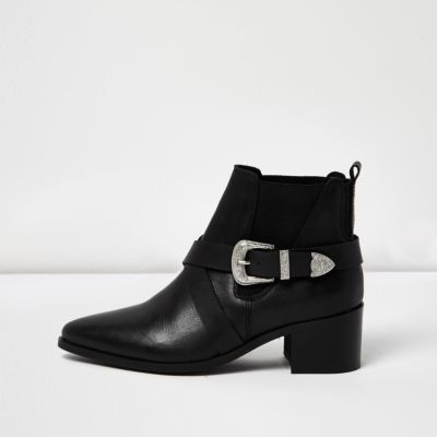 Womens Black Cross Strap Western Boots - predominant colour: black; occasions: casual, creative work; material: leather; heel height: mid; embellishment: buckles; heel: block; toe: pointed toe; boot length: ankle boot; style: standard; finish: plain; pattern: plain; wardrobe: basic; season: a/w 2016