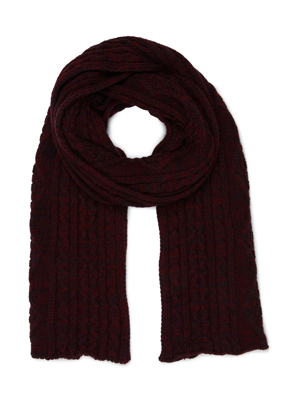 Cherry Cable Scarf, Red - predominant colour: aubergine; occasions: casual; type of pattern: standard; style: regular; size: standard; material: knits; pattern: plain; season: a/w 2016; wardrobe: highlight