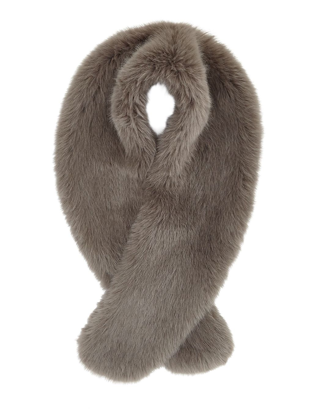 Serene Faux Fur Scarf, Dark Grey - predominant colour: mid grey; type of pattern: standard; size: standard; material: fur; pattern: plain; occasions: creative work; style: stole; season: a/w 2016