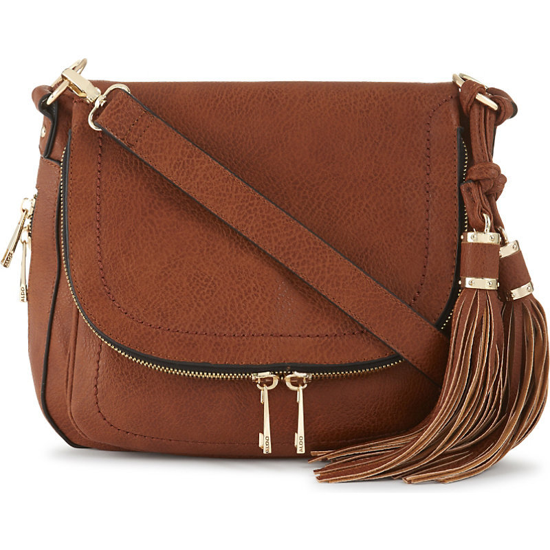Kahaluu Leather Saddle Bag, Women's, Brown/Gold/Peru - predominant colour: tan; occasions: casual, creative work; type of pattern: standard; style: saddle; length: across body/long; size: standard; material: leather; embellishment: tassels; pattern: plain; finish: plain; season: a/w 2016; wardrobe: highlight