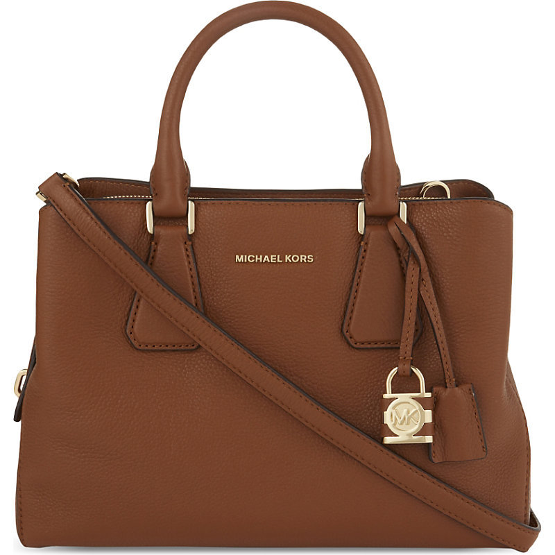 Camille Medium Leather Satchel, Women's, Luggage - predominant colour: tan; occasions: work, creative work; type of pattern: standard; style: tote; length: handle; size: standard; material: leather; pattern: plain; finish: plain; season: a/w 2016; wardrobe: highlight