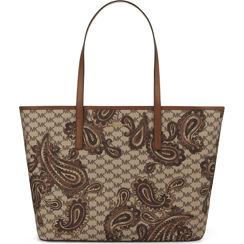 Emry Paisley Large Leather Tote, Women's, Luggage - secondary colour: tan; predominant colour: taupe; occasions: casual, creative work; type of pattern: standard; style: tote; length: shoulder (tucks under arm); size: oversized; material: leather; pattern: animal print; finish: plain; season: a/w 2016