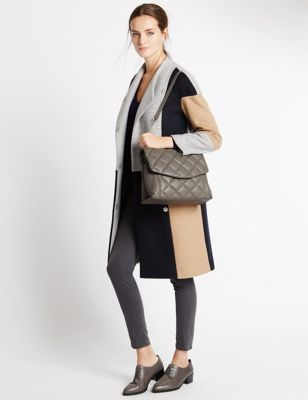 Leather Quilt Shoulder Tote Bag - predominant colour: mid grey; occasions: casual, creative work; type of pattern: standard; style: shoulder; length: shoulder (tucks under arm); size: standard; material: leather; embellishment: quilted; pattern: plain; finish: plain; wardrobe: investment; season: a/w 2016