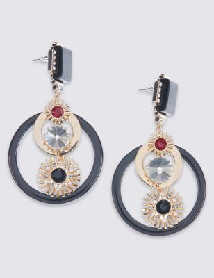 Diamanté Resin Circular Earrings - occasions: evening, occasion; style: hoop; length: mid; size: standard; material: chain/metal; fastening: pierced; finish: plain; embellishment: jewels/stone; predominant colour: pewter; multicoloured: multicoloured; season: a/w 2016; wardrobe: event