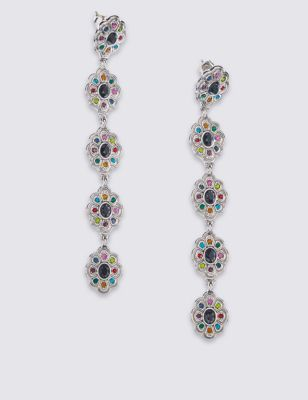 Flower Section Earrings - predominant colour: silver; occasions: evening, occasion; style: drop; length: long; size: standard; material: chain/metal; fastening: pierced; finish: metallic; embellishment: jewels/stone; multicoloured: multicoloured; season: a/w 2016; wardrobe: event