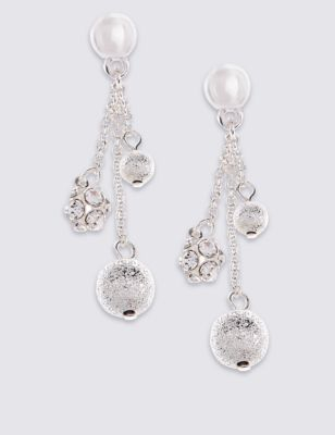 Silver Plated Diamanté Cluster Earrings - secondary colour: ivory/cream; predominant colour: silver; occasions: evening, occasion; style: drop; length: long; size: standard; material: chain/metal; fastening: pierced; finish: metallic; embellishment: jewels/stone; season: a/w 2016; wardrobe: event