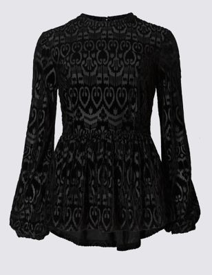 Long Sleeve Devoré Peplum Top - waist detail: peplum waist detail; predominant colour: black; occasions: evening; length: standard; style: top; fibres: polyester/polyamide - 100%; fit: tight; neckline: crew; sleeve length: long sleeve; sleeve style: standard; pattern type: fabric; pattern: patterned/print; texture group: velvet/fabrics with pile; season: a/w 2016; trends: velvet