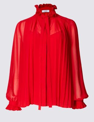 Pleated Tie Front Long Sleeve Blouse - pattern: plain; neckline: high neck; style: blouse; predominant colour: true red; occasions: evening; length: standard; fibres: polyester/polyamide - 100%; fit: loose; sleeve length: long sleeve; sleeve style: standard; texture group: sheer fabrics/chiffon/organza etc.; pattern type: fabric; season: a/w 2016; wardrobe: event; trends: eccentrics