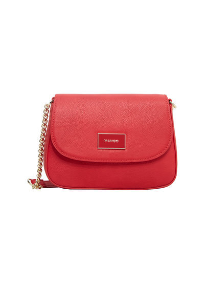 Metal Plate Bag - predominant colour: true red; occasions: casual, creative work; type of pattern: standard; style: saddle; length: across body/long; size: standard; material: faux leather; pattern: plain; finish: patent; embellishment: chain/metal; season: a/w 2016