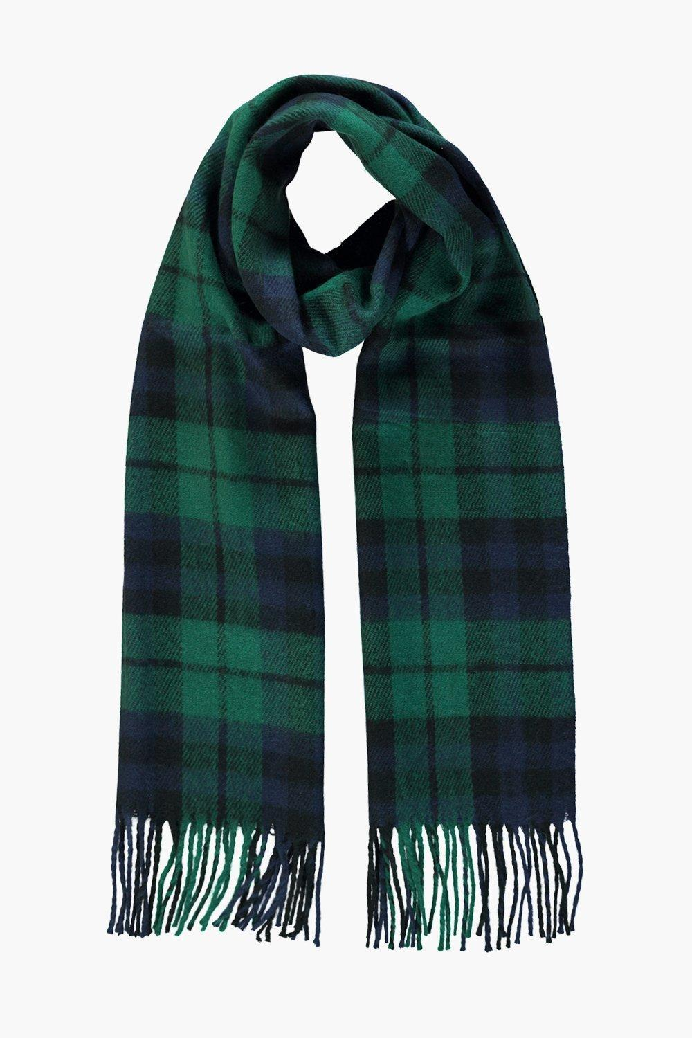 Bottle Green Brushed Check Scarf Green - predominant colour: emerald green; occasions: casual; type of pattern: heavy; style: regular; size: standard; material: knits; embellishment: fringing; pattern: checked/gingham; multicoloured: multicoloured; season: a/w 2016; wardrobe: highlight