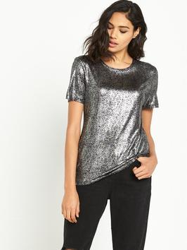 Short Sleeved Foil Fitted Tee - neckline: round neck; pattern: plain; style: t-shirt; predominant colour: silver; occasions: casual, evening, creative work; length: standard; fibres: viscose/rayon - 100%; fit: body skimming; sleeve length: short sleeve; sleeve style: standard; texture group: structured shiny - satin/tafetta/silk etc.; pattern type: fabric; season: a/w 2016; wardrobe: highlight; trends: metallics