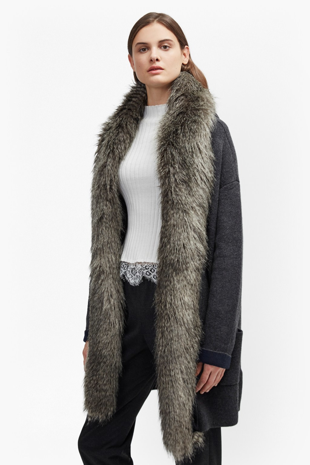 Double Sided Faux Fur Vhari Coatigan Charcoal Mel/Nocturnal - pattern: plain; fit: loose; style: poncho/blanket; length: on the knee; predominant colour: black; occasions: casual; fibres: cotton - mix; sleeve length: long sleeve; sleeve style: standard; texture group: knits/crochet; collar: fur; collar break: low/open; pattern type: knitted - fine stitch; season: a/w 2016; wardrobe: highlight