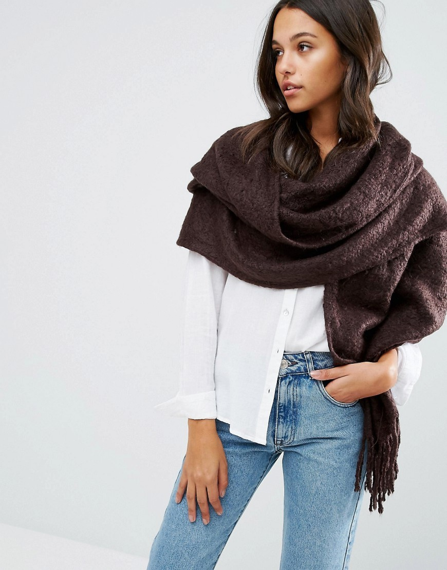 Tassel Scarf Chocolate - predominant colour: chocolate brown; occasions: casual, creative work; type of pattern: standard; style: wrap; size: large; material: fabric; embellishment: tassels; pattern: plain; wardrobe: basic; season: a/w 2016