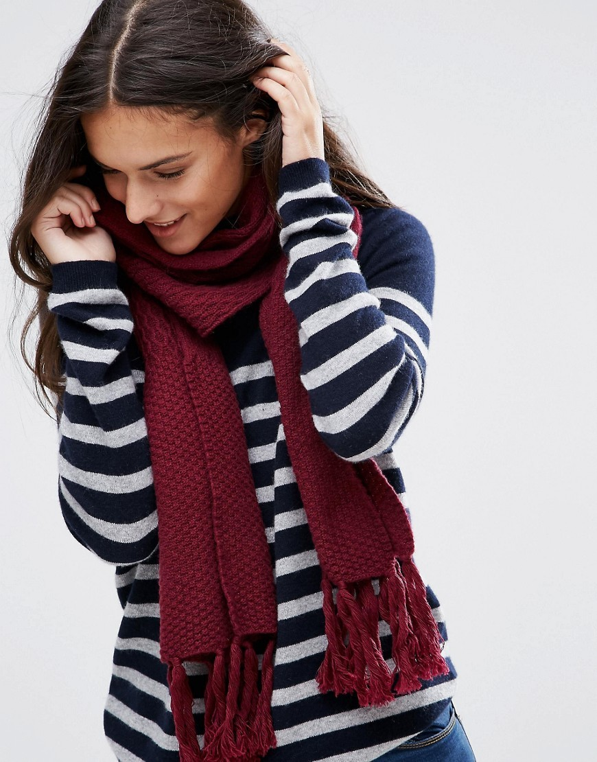 Woven Stitch Knit Scarf Cranberry - predominant colour: burgundy; occasions: casual; type of pattern: standard; style: regular; size: standard; material: knits; embellishment: fringing; pattern: plain; season: a/w 2016; wardrobe: highlight