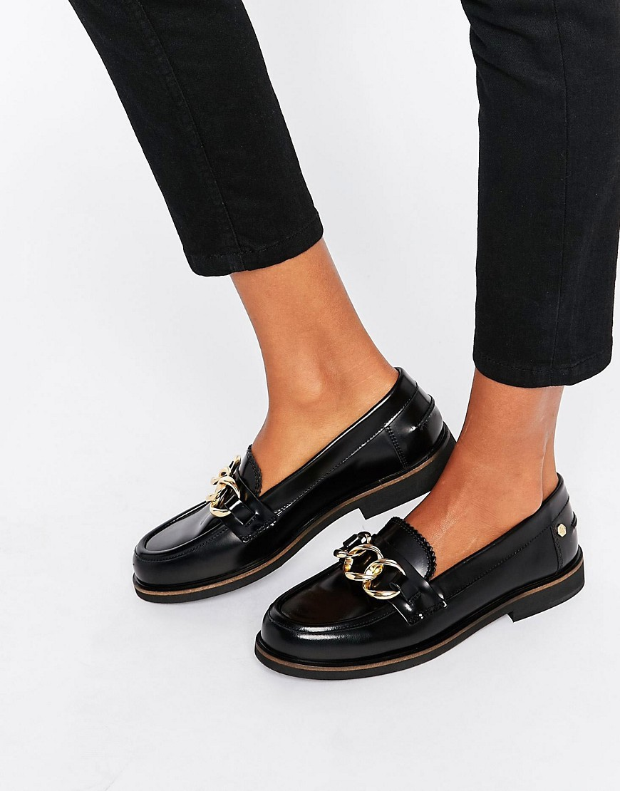 Daisy Chain Loafers Black - predominant colour: black; occasions: casual, work, creative work; material: leather; heel height: flat; embellishment: snaffles; toe: round toe; style: loafers; finish: plain; pattern: plain; wardrobe: basic; season: a/w 2016