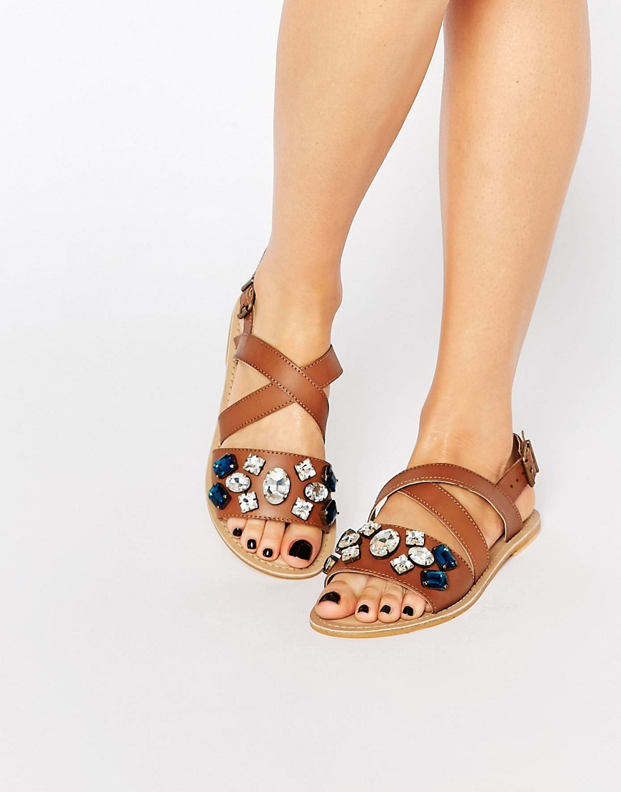 Best Embellished Leather Flat Sandals Tan Leather - predominant colour: tan; occasions: casual, holiday; material: leather; heel height: flat; embellishment: jewels/stone; heel: standard; toe: open toe/peeptoe; style: strappy; finish: plain; pattern: plain; season: a/w 2016; wardrobe: highlight