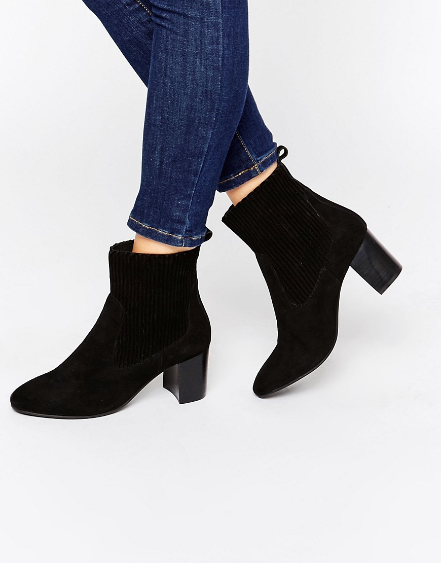 Suede Mid Heel Boot Black - predominant colour: black; occasions: casual, work, creative work; material: suede; heel height: high; heel: block; toe: round toe; boot length: ankle boot; style: standard; finish: plain; pattern: plain; season: a/w 2016; wardrobe: highlight