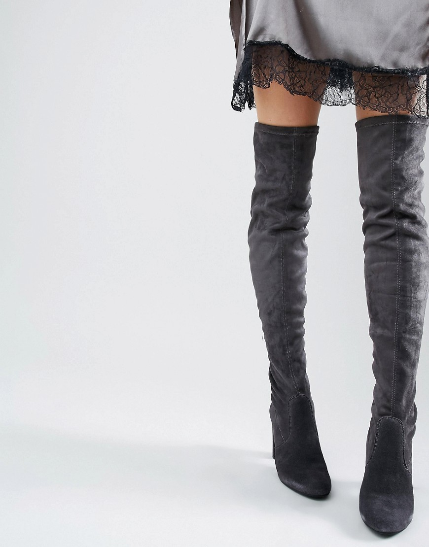 Sibyl Thigh High Suede Heeled Over The Knee Boots Grey Suede - predominant colour: mid grey; occasions: casual, creative work; material: suede; heel height: high; heel: stiletto; toe: pointed toe; boot length: over the knee; style: standard; finish: plain; pattern: plain; wardrobe: investment; season: a/w 2016