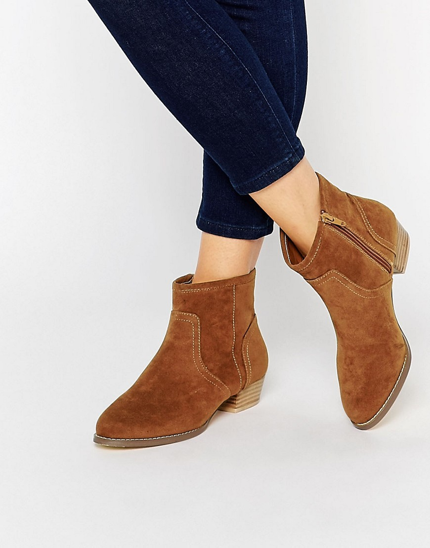Jan Ankle Boots Tan Suedette - predominant colour: tan; occasions: casual, creative work; material: suede; heel height: mid; heel: block; toe: round toe; boot length: ankle boot; style: standard; finish: plain; pattern: plain; season: a/w 2016