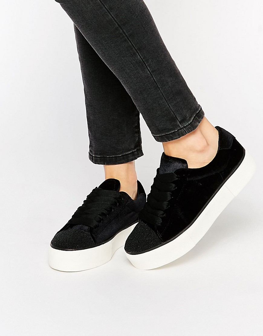 Metallic Flatform Trainers Black - predominant colour: black; occasions: casual; heel height: flat; toe: round toe; style: flatforms; finish: plain; pattern: plain; material: faux suede; shoe detail: platform; season: a/w 2016; wardrobe: highlight