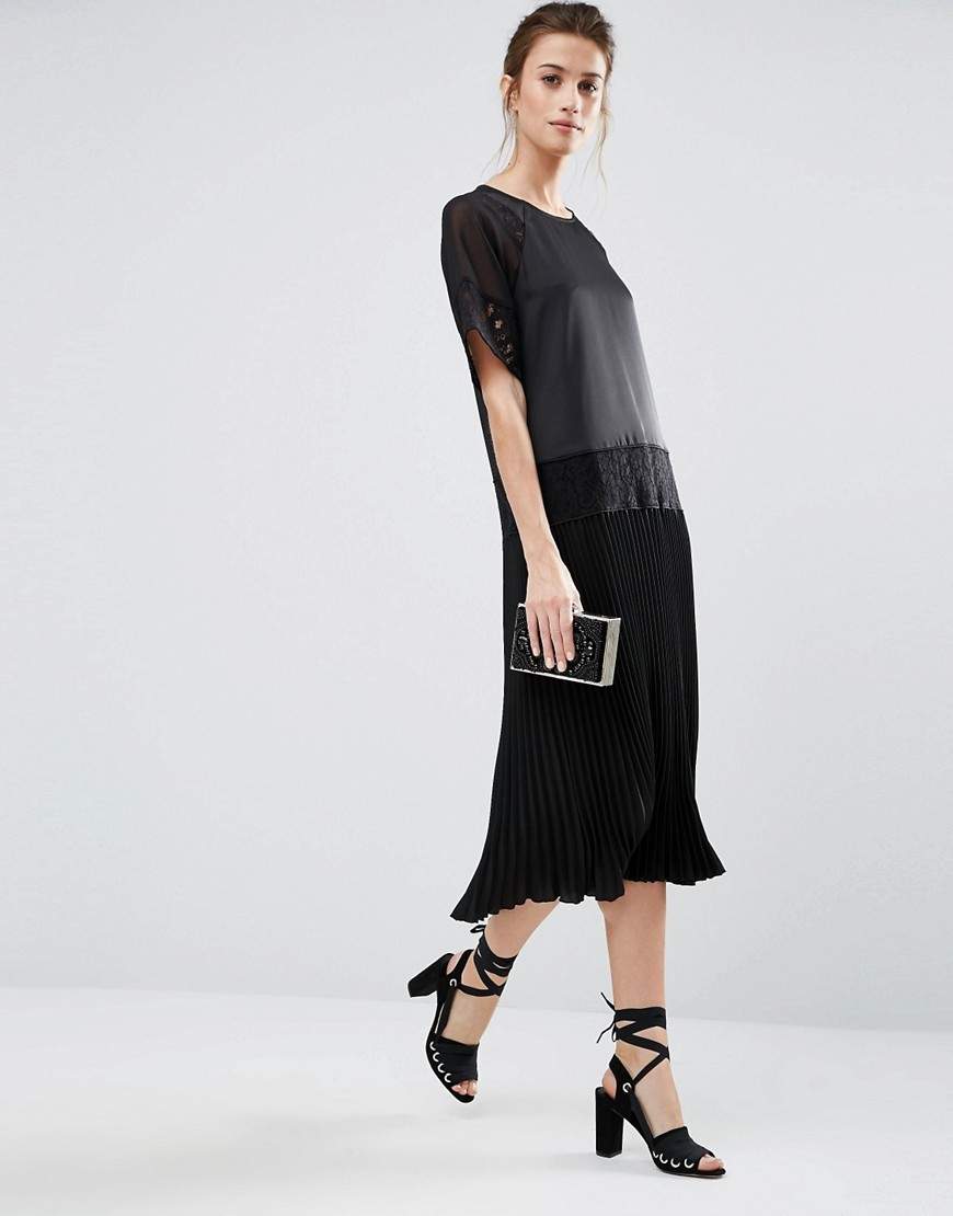 Lace Insert Midi Dress With Pleated Hem Black - style: shift; length: below the knee; pattern: plain; predominant colour: black; occasions: evening; fit: body skimming; fibres: polyester/polyamide - 100%; neckline: crew; sleeve length: short sleeve; sleeve style: standard; pattern type: fabric; pattern size: standard; texture group: jersey - stretchy/drapey; season: a/w 2016