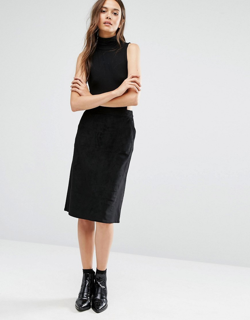 Suedette Midi Skirt Black - pattern: plain; style: straight; waist: mid/regular rise; predominant colour: black; occasions: evening; length: on the knee; fibres: polyester/polyamide - stretch; fit: straight cut; pattern type: fabric; texture group: woven light midweight; season: a/w 2016; wardrobe: event