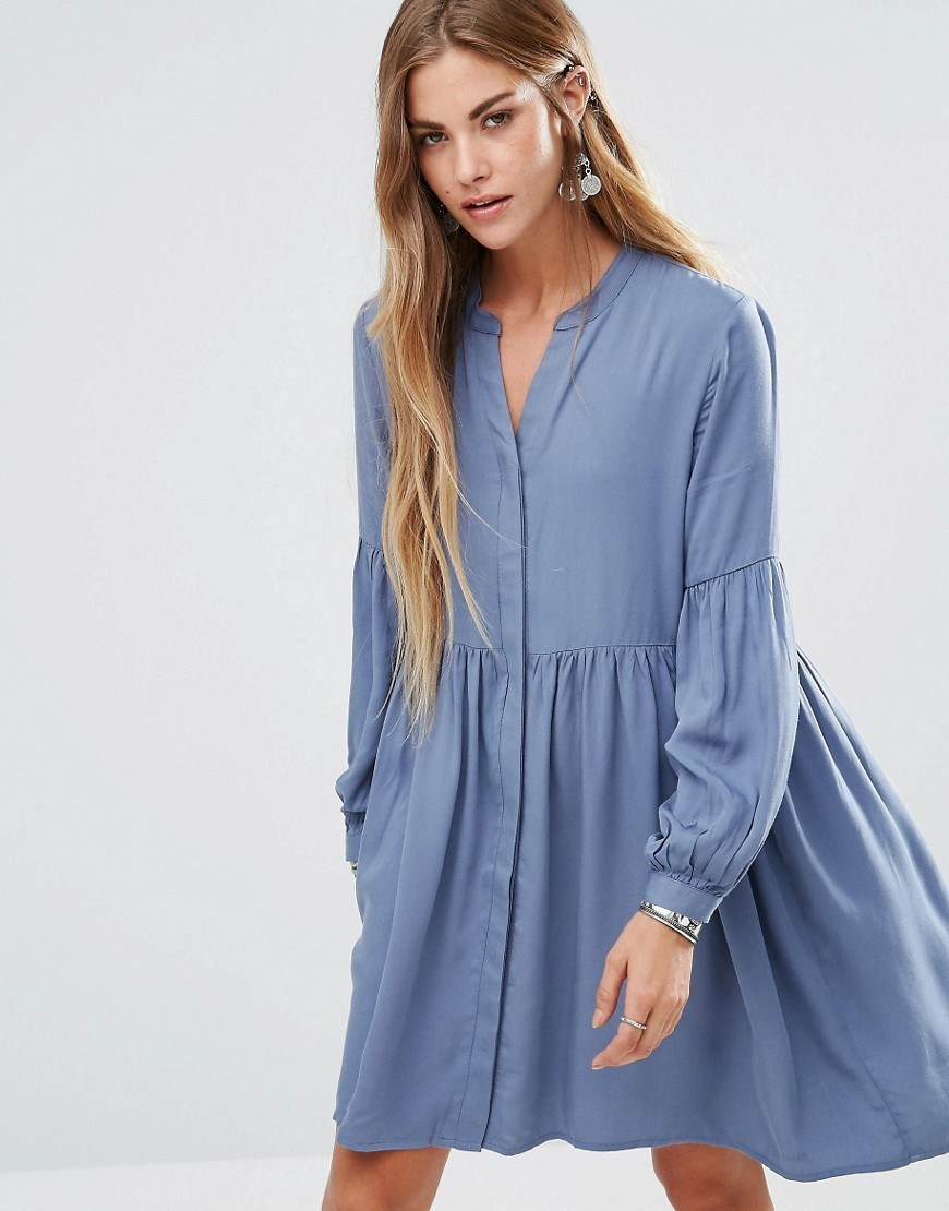 Oversize Smocky Shirt Dress Grey Blue - style: smock; fit: loose; pattern: plain; predominant colour: denim; occasions: casual; length: just above the knee; neckline: collarstand & mandarin with v-neck; fibres: viscose/rayon - 100%; sleeve length: long sleeve; sleeve style: standard; pattern type: fabric; texture group: jersey - stretchy/drapey; season: a/w 2016; wardrobe: highlight