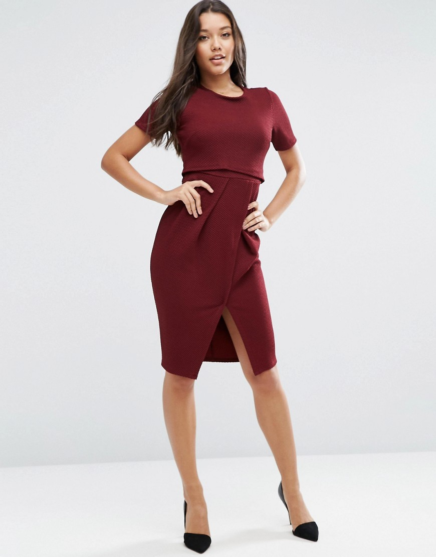 Double Layer Textured Wiggle Dress Oxblood - style: shift; pattern: plain; hip detail: draws attention to hips; predominant colour: dark green; occasions: evening; length: on the knee; fit: body skimming; fibres: polyester/polyamide - stretch; neckline: crew; sleeve length: short sleeve; sleeve style: standard; pattern type: fabric; texture group: jersey - stretchy/drapey; season: a/w 2016; wardrobe: event