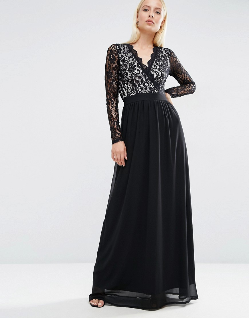 Long Sleeve Lace Scallop Maxi Dress Black/Nude - neckline: v-neck; pattern: plain; style: maxi dress; predominant colour: black; occasions: evening; length: floor length; fit: body skimming; fibres: polyester/polyamide - 100%; sleeve length: long sleeve; sleeve style: standard; texture group: sheer fabrics/chiffon/organza etc.; pattern type: fabric; embellishment: lace; season: a/w 2016; wardrobe: event; embellishment location: top