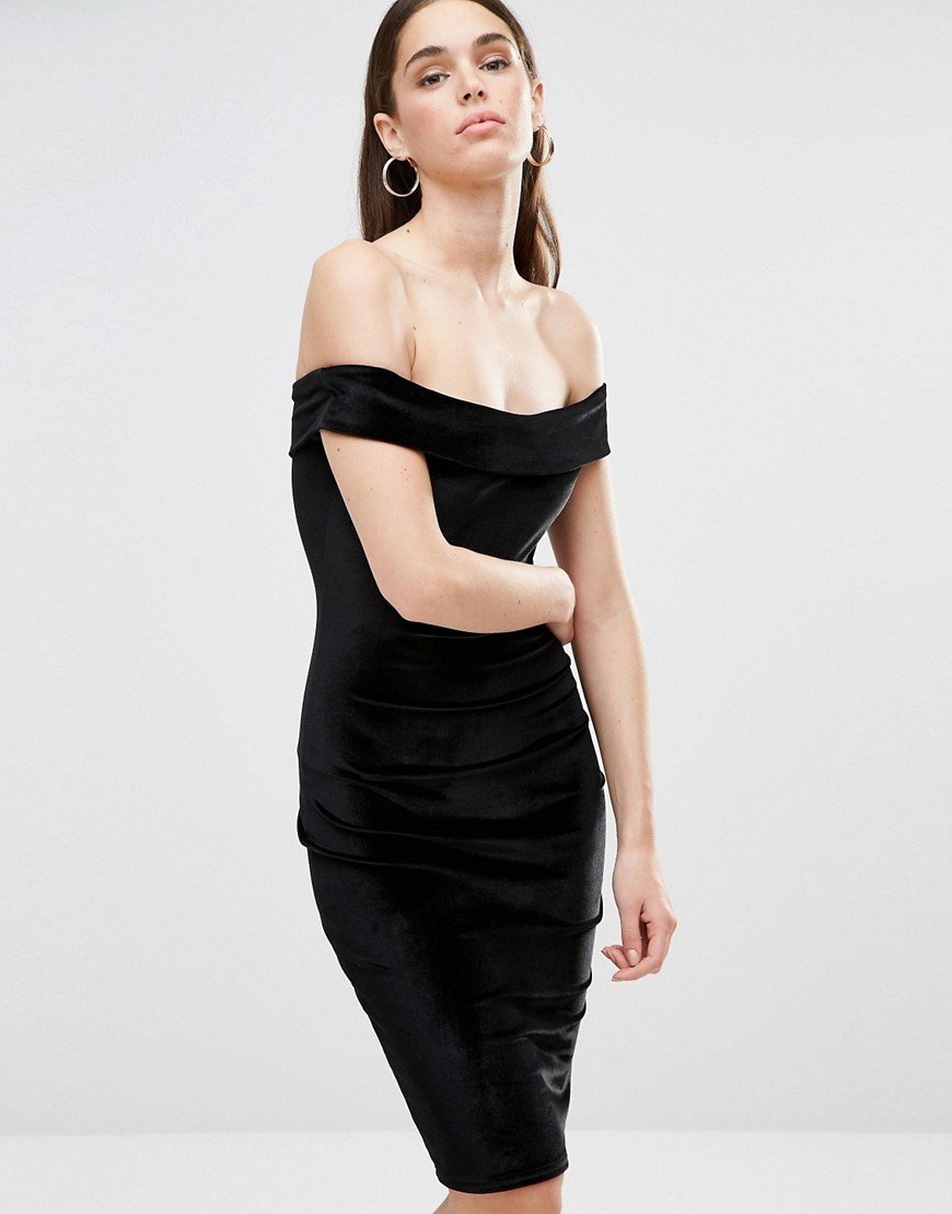 Bardot Velvet Midi Dress Black - neckline: off the shoulder; sleeve style: capped; fit: tight; pattern: plain; style: bodycon; predominant colour: black; occasions: evening; length: on the knee; fibres: polyester/polyamide - stretch; sleeve length: short sleeve; pattern type: fabric; texture group: velvet/fabrics with pile; season: a/w 2016; wardrobe: event