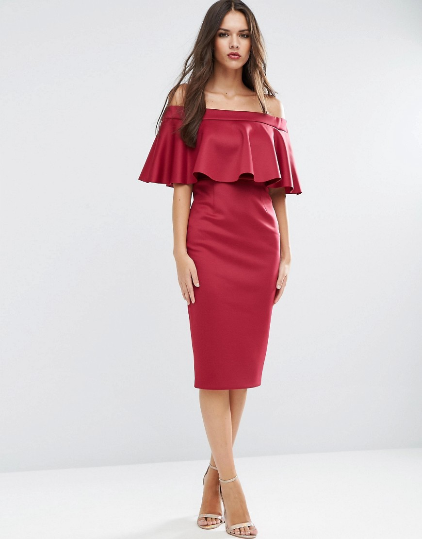 Scuba Ruffle Off The Shoulder Pencil Dress Red - style: shift; length: below the knee; neckline: off the shoulder; pattern: plain; predominant colour: burgundy; occasions: evening; fit: body skimming; fibres: polyester/polyamide - stretch; sleeve length: short sleeve; sleeve style: standard; bust detail: tiers/frills/bulky drapes/pleats; pattern type: fabric; texture group: jersey - stretchy/drapey; season: a/w 2016