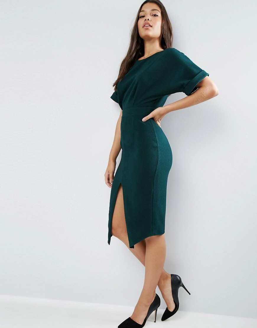 Wiggle Dress With Split Front Green - fit: tight; pattern: plain; style: bodycon; predominant colour: dark green; occasions: evening; length: on the knee; fibres: polyester/polyamide - stretch; neckline: crew; hip detail: slits at hip; sleeve length: short sleeve; sleeve style: standard; texture group: jersey - clingy; pattern type: fabric; season: a/w 2016