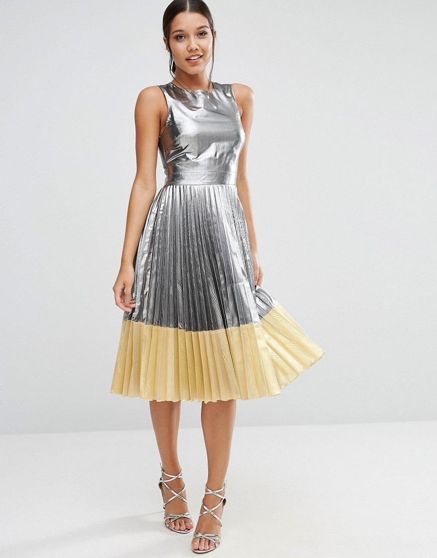 Sheer And Solid Metallic Pleated Midi Dress Silver - length: below the knee; pattern: plain; sleeve style: sleeveless; style: full skirt; secondary colour: primrose yellow; predominant colour: silver; occasions: evening; fit: fitted at waist & bust; fibres: polyester/polyamide - mix; neckline: crew; hip detail: subtle/flattering hip detail; sleeve length: sleeveless; pattern type: fabric; texture group: other - light to midweight; multicoloured: multicoloured; season: a/w 2016; wardrobe: event