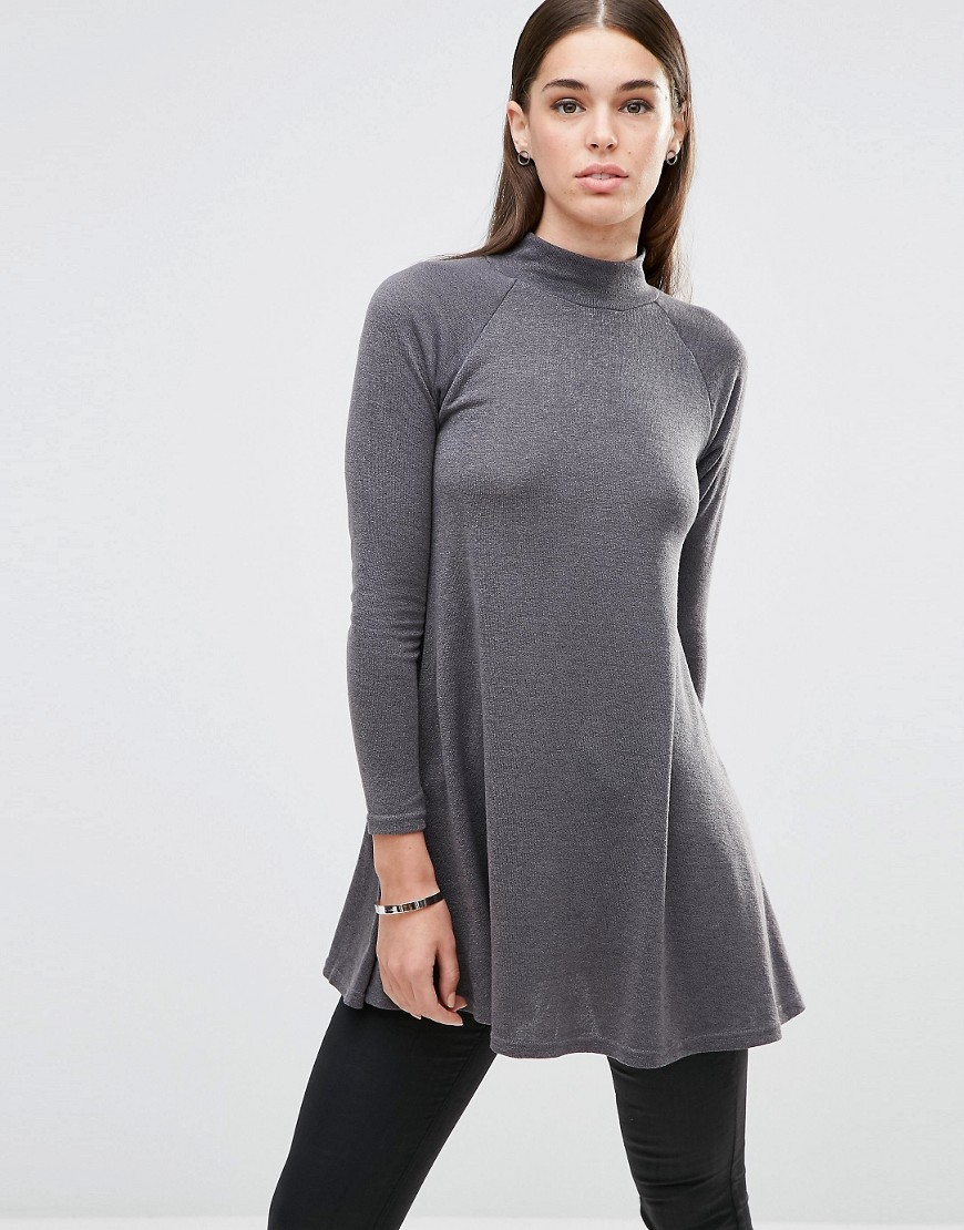 Turtle Neck Knitted Tunic Dark Grey - pattern: plain; length: below the bottom; style: tunic; neckline: roll neck; predominant colour: mid grey; occasions: casual; fibres: polyester/polyamide - stretch; fit: body skimming; sleeve length: long sleeve; sleeve style: standard; pattern type: fabric; texture group: jersey - stretchy/drapey; wardrobe: basic; season: a/w 2016