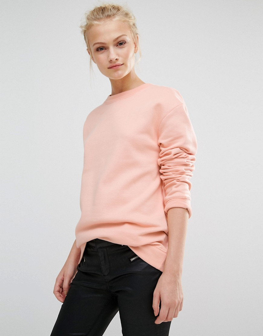 Oversized Sweatshirt Pink - pattern: plain; style: sweat top; predominant colour: blush; occasions: casual, activity; length: standard; fibres: cotton - mix; fit: body skimming; neckline: crew; sleeve length: long sleeve; sleeve style: standard; pattern type: fabric; texture group: jersey - stretchy/drapey; season: a/w 2016
