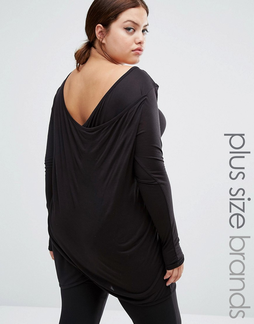 Long Sleeve Jersey Top With Drape Back Black - neckline: round neck; pattern: plain; length: below the bottom; predominant colour: black; occasions: casual; style: top; fibres: viscose/rayon - 100%; fit: body skimming; sleeve length: long sleeve; sleeve style: standard; pattern type: fabric; texture group: jersey - stretchy/drapey; wardrobe: basic; season: a/w 2016