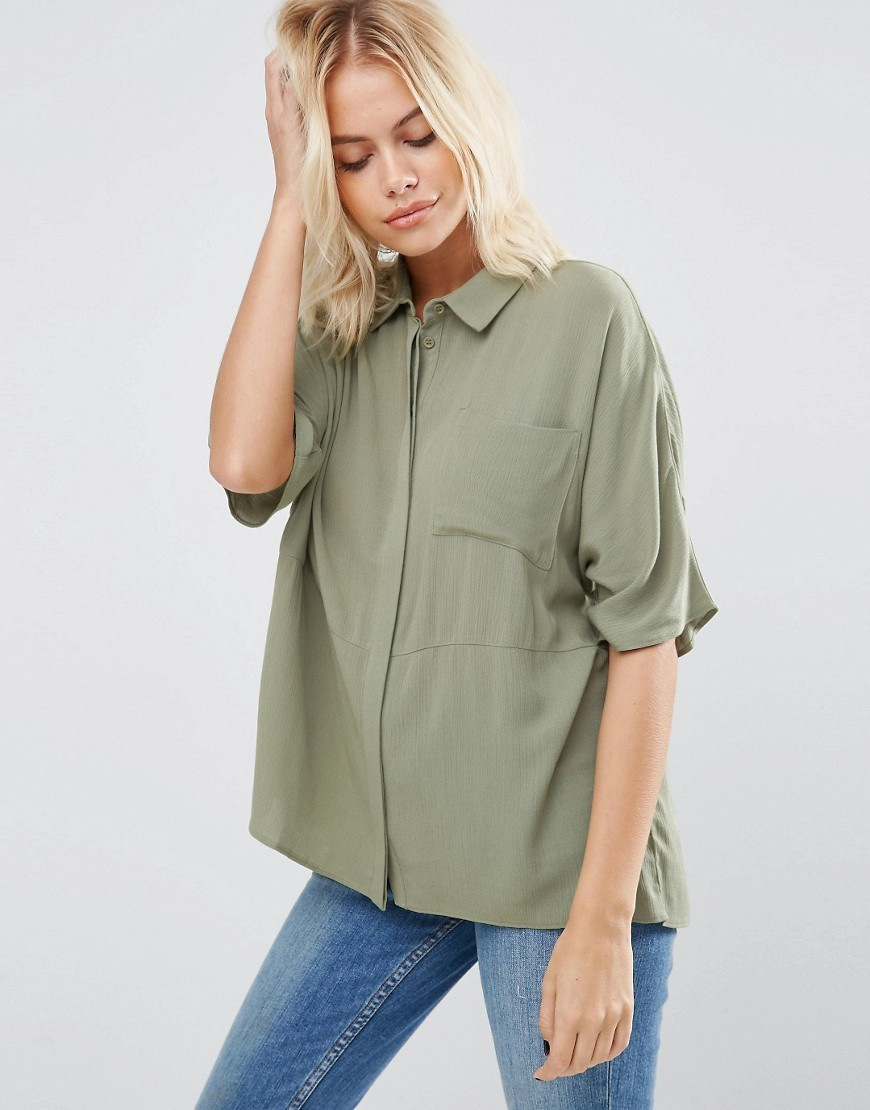 Boxy Blouse In Crinkle Khaki - neckline: shirt collar/peter pan/zip with opening; pattern: plain; length: below the bottom; style: blouse; predominant colour: khaki; occasions: casual, creative work; fibres: viscose/rayon - 100%; fit: loose; sleeve length: long sleeve; sleeve style: standard; pattern type: fabric; texture group: other - light to midweight; wardrobe: basic; season: a/w 2016
