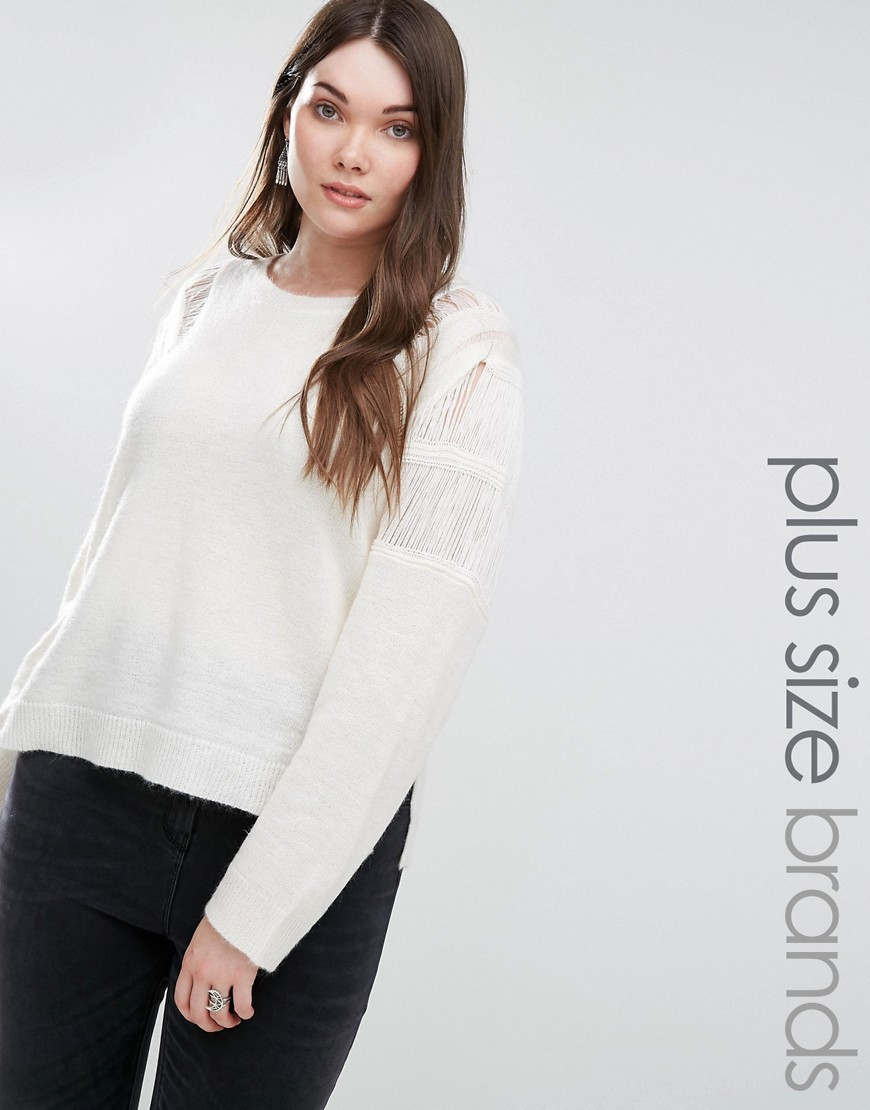 Ladder Weave Knit Top Cream - neckline: round neck; pattern: plain; length: below the bottom; predominant colour: ivory/cream; occasions: casual, creative work; style: top; fibres: acrylic - mix; fit: straight cut; sleeve length: long sleeve; sleeve style: standard; texture group: knits/crochet; pattern type: knitted - fine stitch; pattern size: standard; wardrobe: basic; season: a/w 2016