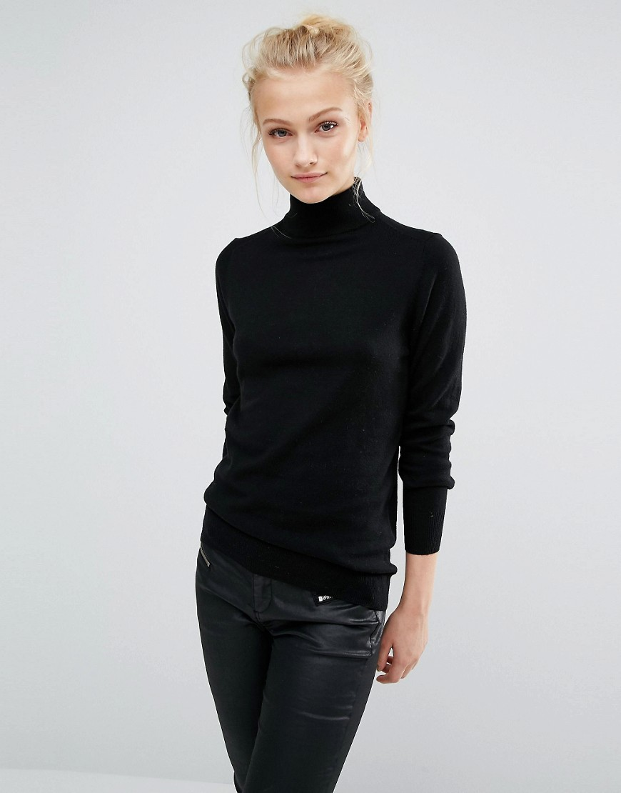 Polo Neck Jumper Black - pattern: plain; neckline: roll neck; style: standard; predominant colour: black; occasions: casual; length: standard; fibres: cotton - mix; fit: slim fit; back detail: longer hem at back than at front; sleeve length: long sleeve; sleeve style: standard; texture group: knits/crochet; pattern type: knitted - fine stitch; wardrobe: basic; season: a/w 2016