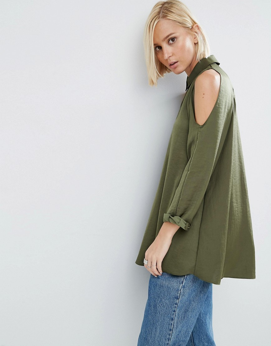Cold Shoulder Blouse In Satin Khaki - neckline: shirt collar/peter pan/zip with opening; pattern: plain; length: below the bottom; style: blouse; predominant colour: khaki; occasions: casual, creative work; fibres: polyester/polyamide - 100%; fit: loose; shoulder detail: cut out shoulder; sleeve length: long sleeve; sleeve style: standard; texture group: structured shiny - satin/tafetta/silk etc.; pattern type: fabric; season: a/w 2016; wardrobe: highlight