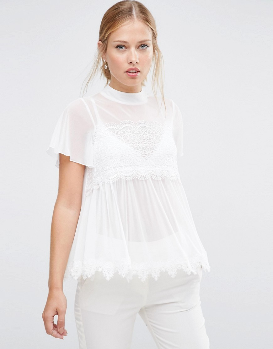 Top In Mesh And Lace Mix With Short Sleeve Ivory - pattern: plain; predominant colour: ivory/cream; occasions: casual, creative work; length: standard; style: top; fibres: polyester/polyamide - 100%; fit: loose; neckline: crew; sleeve length: short sleeve; sleeve style: standard; texture group: sheer fabrics/chiffon/organza etc.; pattern type: fabric; embellishment: lace; season: a/w 2016; wardrobe: highlight