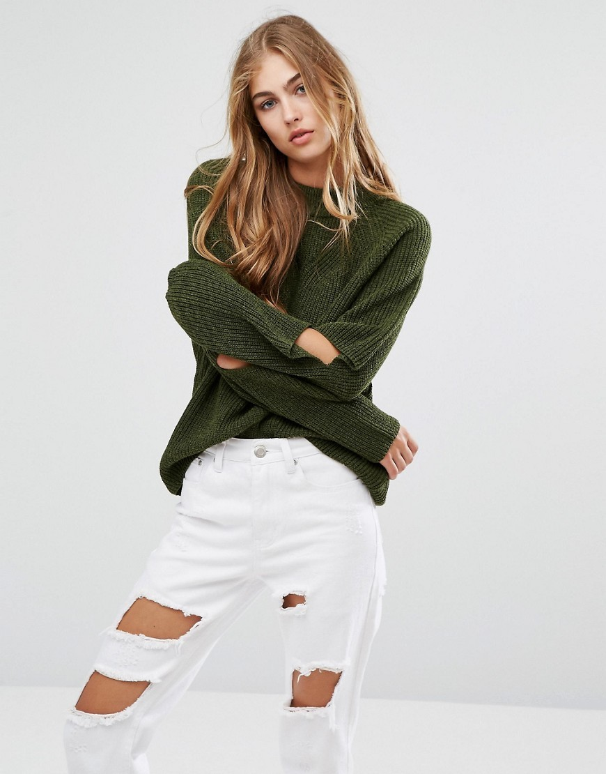 Cut Out Elbow Jumper Olive - pattern: plain; style: standard; predominant colour: dark green; occasions: casual; length: standard; fibres: acrylic - 100%; fit: loose; neckline: crew; sleeve length: long sleeve; sleeve style: standard; texture group: knits/crochet; pattern type: knitted - fine stitch; season: a/w 2016; wardrobe: highlight